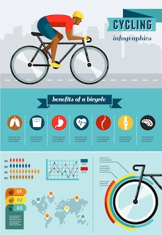 Ciclista in sella a una bicicletta insieme dell'icona del manifesto di infografica vettoriale