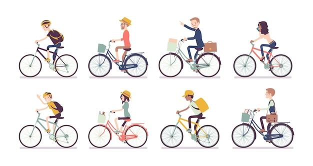 Set di ciclisti e biciclette