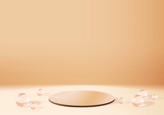 Scena minimale astratta del cilindro con piattaforma in cristallo. rendering di sfondo con podio. stand per mostrare l'esposizione del prodotto cosmetico. esposizione del palco su piedistallo in sfondo oro studio
