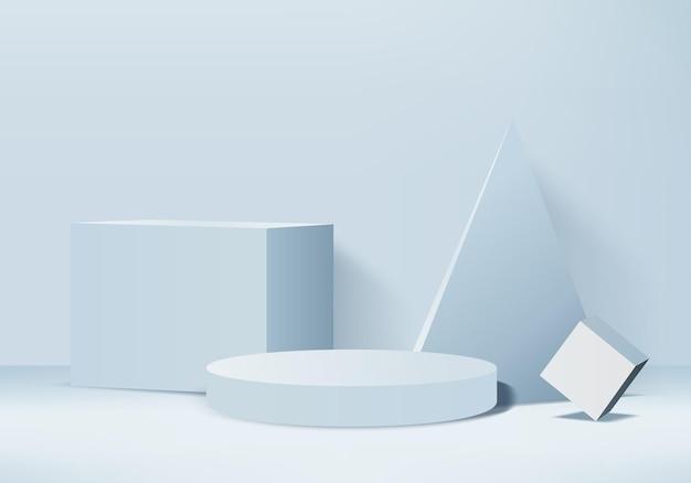Cilindro astratto minimal scena con piattaforma geometrica. sfondo rendering 3d con podio. vetrina scenica su piedistallo moderno studio 3d pastello blu