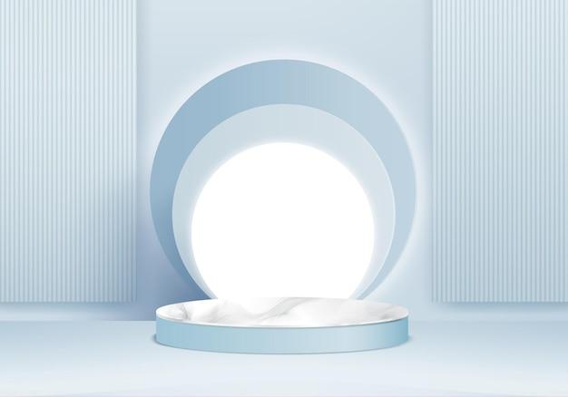 Cilindro astratto minimal scena con piattaforma geometrica. rendering 3d di sfondo estivo con podio. stand per mostrare prodotti cosmetici. vetrina scenica su piedistallo moderno studio 3d pastello blu
