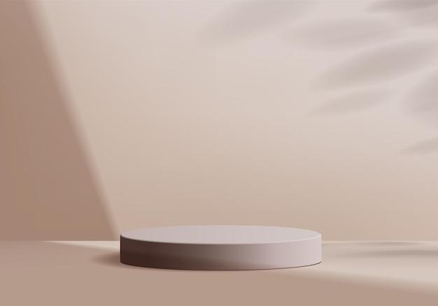 Scena minimale astratta del cilindro con piattaforma geometrica. rendering di sfondo estivo con podio. stand per mostrare prodotti cosmetici. vetrina da palco su piedistallo moderno studio beige pastello