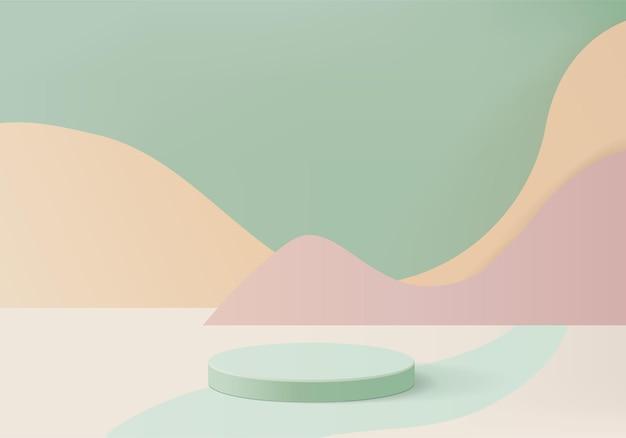 Scena minimale astratta del cilindro con piattaforma geometrica. rendering di sfondo estivo con podio. stand per mostrare prodotti cosmetici. vetrina scenica su piedistallo moderno studio verde pastello