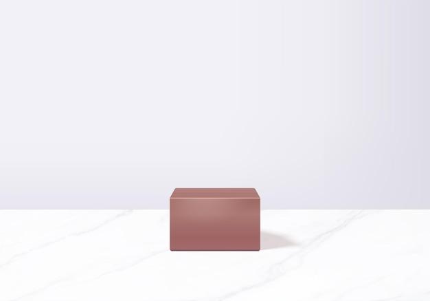 Scena minimale astratta del cilindro con piattaforma geometrica. rendering di sfondo estivo con podio. stand per mostrare prodotti cosmetici. vetrina del palco su piedistallo moderno studio bianco