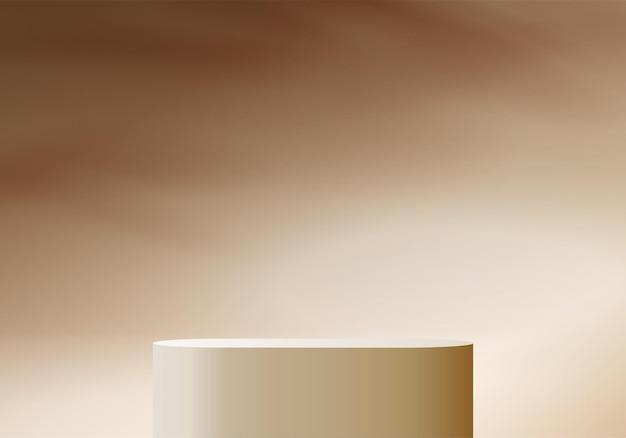 Cilindro astratto minimal scena con piattaforma geometrica. rendering 3d di vettore di sfondo estivo con podio. stand per mostrare prodotti cosmetici. vetrina scenica su piedistallo moderno studio 3d pastello beige