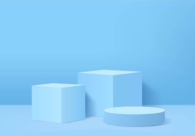 Scena minimale astratta del cilindro con piattaforma geometrica. vetrina del palcoscenico estivo su piedistallo moderno 3d studio pastello blu