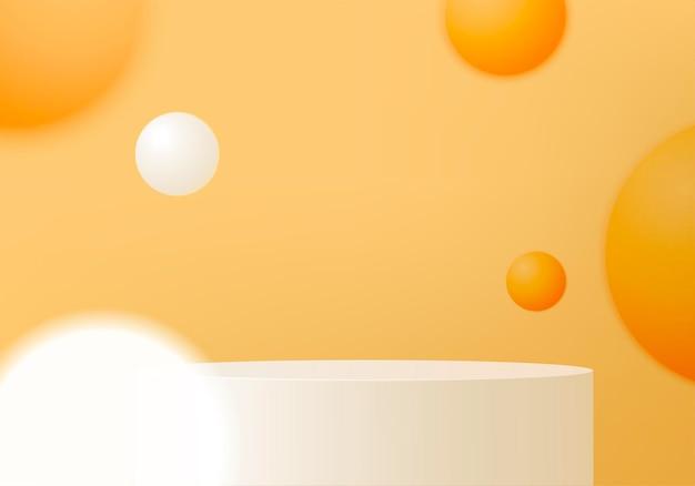 Scena minimale astratta del cilindro con piattaforma geometrica.