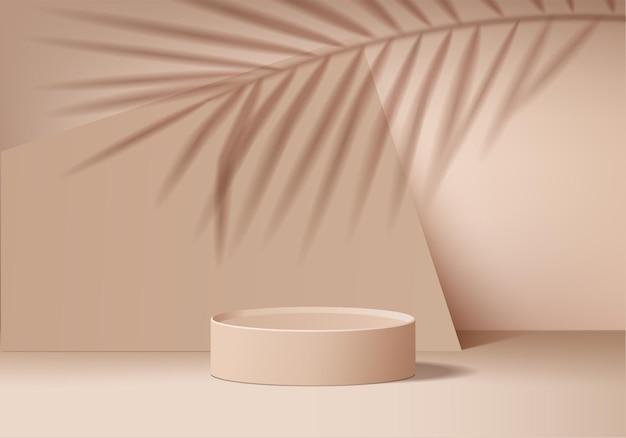 Scena minimale astratta del cilindro con piattaforma geometrica foglia.