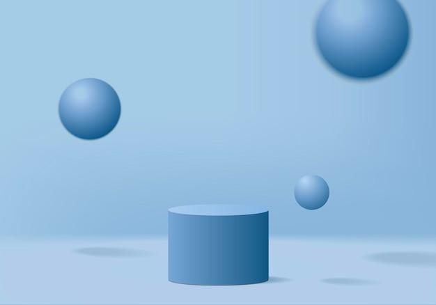 Cilindro mostra scena minimale con piattaforma geometrica.