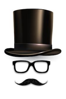 Cilindro, occhiali, baffi, accessori da gentiluomo retrò per chat video, applicazione per smartphone di editing selfie.