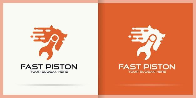 Design del logo del cilindro con un concetto veloce