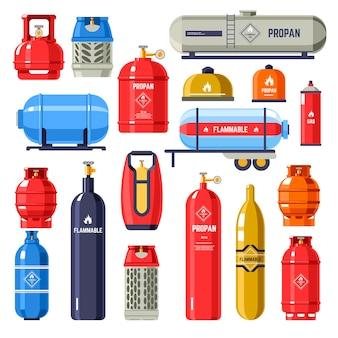 Bombole e contenitori metallici con gas e petrolio. sostanza chimica utilizzata per la ricarica dei veicoli, lo stoccaggio del carburante in porzioni per scopi dometrici e industriali. vettore in stile piatto illustrazione