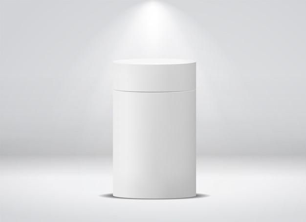 Pacchetto cilindro. scatola di carta vuota rotonda bianca per il modello della scatola metallica isolato caffè del tè della minestra dell'alimento