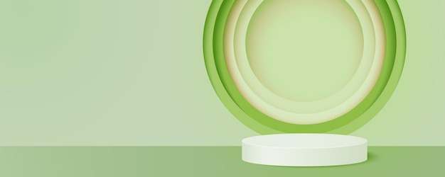 Podio del cilindro su sfondo verde scena minimale astratta con forma geometrica di carta rotonda tagliata, presentazione del prodotto illustrazione vettoriale di arte di carta 3d.