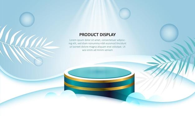 L'esposizione del prodotto del podio del cilindro mostra nella priorità bassa verde