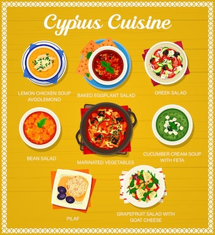 Cucina cipriota zuppa di pollo al limone avgolemono, melanzane al forno, insalata greca e fagioli. verdure marinate, zuppa di crema di cetrioli con feta, pilaf, insalata di pompelmo con formaggio di capra, cibo cipriota