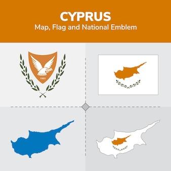 Mappa di cipro, bandiera e emblema nazionale