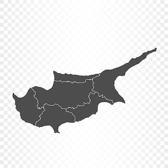 Mappa di cipro isolata su trasparente