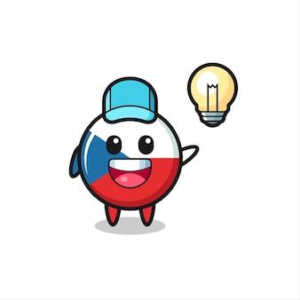 Bandiera ceca distintivo personaggio cartone animato ottenere l'idea, design in stile carino per t-shirt, adesivo, elemento logo