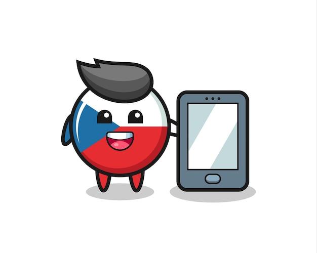 Fumetto dell'illustrazione del distintivo della bandiera ceca che tiene uno smartphone, design in stile carino per maglietta, adesivo, elemento logo