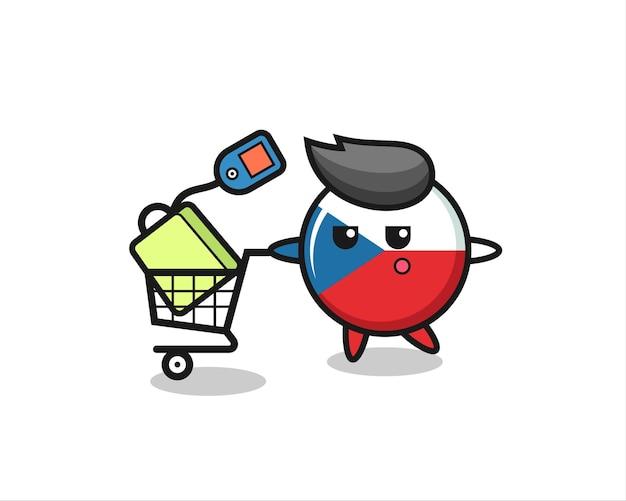 Fumetto dell'illustrazione del distintivo della bandiera ceca con un carrello della spesa, design in stile carino per maglietta, adesivo, elemento logo