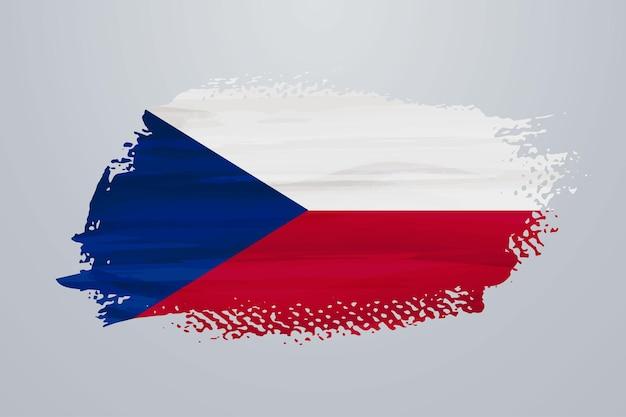 Bandiera della repubblica ceca con vernice a pennello