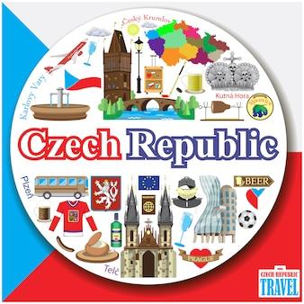 Fondo rotondo della repubblica ceca icone e insieme di simboli piani colorati