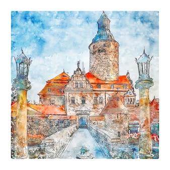 Illustrazione disegnata a mano di schizzo dell'acquerello della polonia del castello di czocha