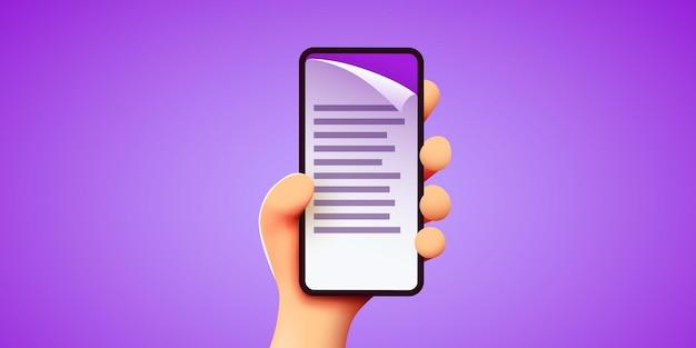 D carina la mano tiene lo smartphone con documento o fattura sullo schermo gestione elettronica dei documenti