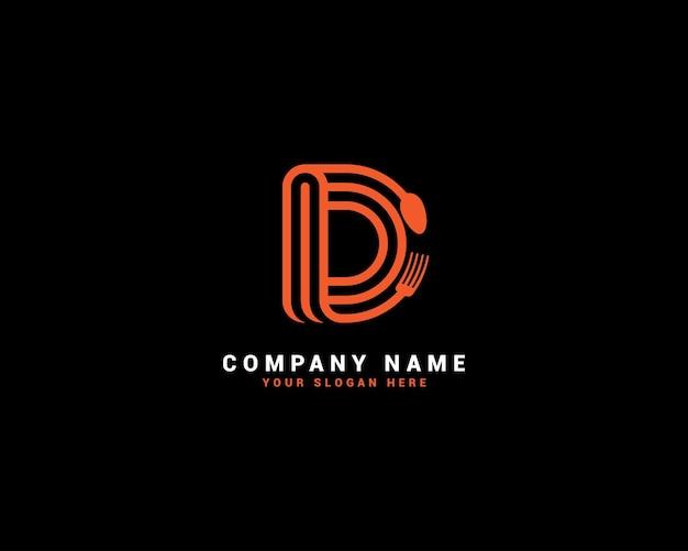 Logo della lettera di cibo d, logo della lettera di cucchiaio d, set di logo della lettera di cibo, alfabeto del cibo