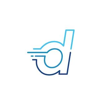 D lettera trattino minuscolo tecnologia digitale veloce consegna rapida movimento linea contorno monolinea blu logo icona vettore illustrazione