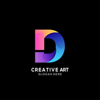 Gradiente di design colorato con logo lettera d
