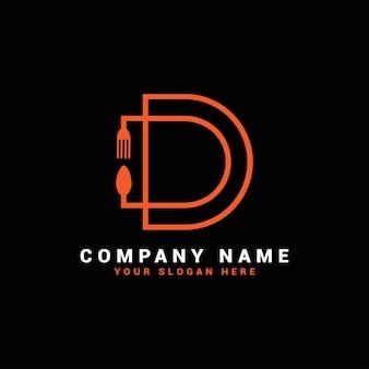 Logo della lettera d, logo della lettera del cibo, logo della lettera del cucchiaio d