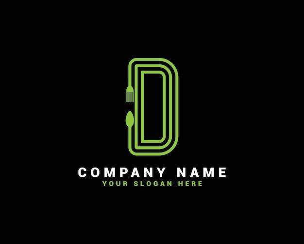Logo della lettera d, logo della lettera d dell'alimento, logo della lettera del cucchiaio d