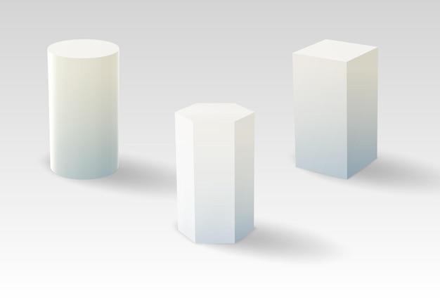 D piedistalli o palcoscenici museali vuoti geometrici a podio