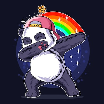 Il panda in stile dabb usa un cappello a fiori e c'è un arcobaleno.