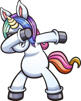 Dabbing unicorn indossando occhiali da sole.