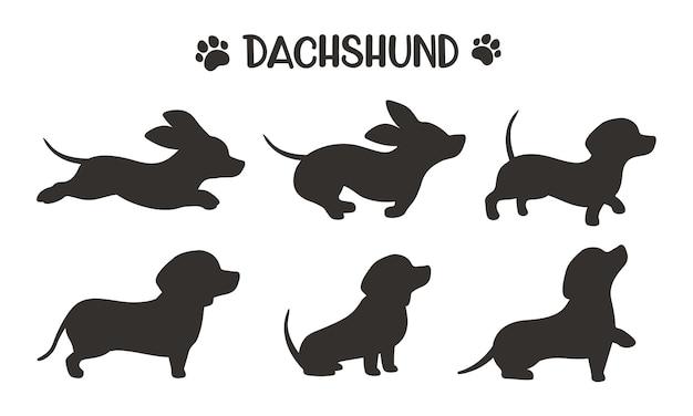 Sagome di cane bassotto in esecuzione in varie pose Vettore Premium
