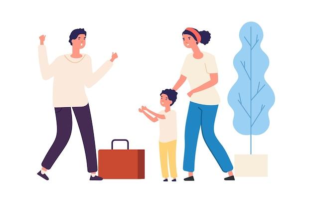 Papà sta tornando a casa dal lavoro. bambino carino, moglie e marito. papà torna a casa dopo il lavoro