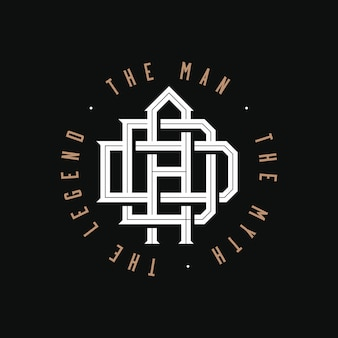 Papà. l'uomo, il mito, la leggenda. papà monogramma logo emblema design su sfondo nero per la stampa di t-shirt o qualsiasi regalo o souvenir personale per la festa del papà o il compleanno del padre. illustrazione