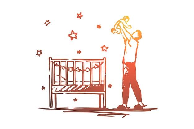 Papà in congedo di maternità, uomo felice che tiene illustrazione del bambino