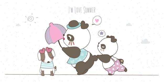 Papà panda con un ombrello e due bambini in abiti pastello che disegnano a mano scarabocchi su sfondo bianco