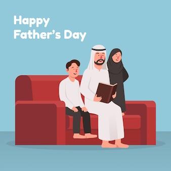 Papà che legge il libro di storia con la festa del papà felice dei bambini