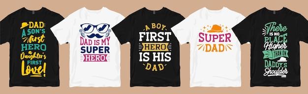 Papà e figlio citano il pacchetto di t-shirt tipografiche, collezione di magliette grafiche con slogan per la festa del papà