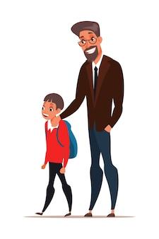 Papà che porta il figlio all'illustrazione della scuola