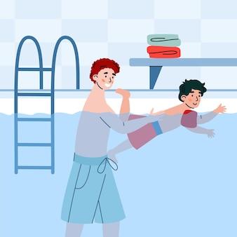 Papà insegna al figlio a nuotare in piscina padre felice sostiene il bambino sull'acqua