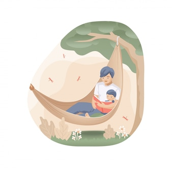 Papà con suo figlio stanno leggendo un libro su un'amaca sotto un albero. vector piatta illustrazione.