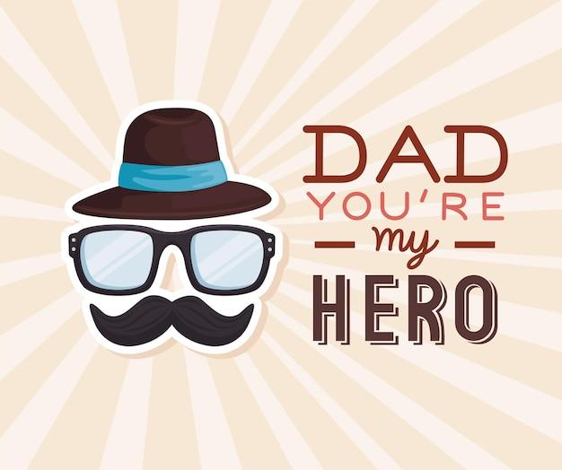 Papà mio eroe, cartolina d'auguri di felice festa del papà