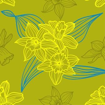 Verde del fondo del modello dei fiori di estate dei daffodils