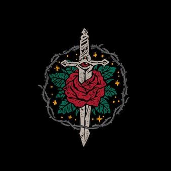 Illustrazione disegnata a mano d'annata delle rose e del pugnale